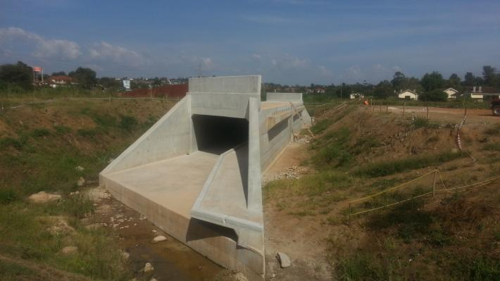 Construction of Box Culvert and retaining wall at the new
